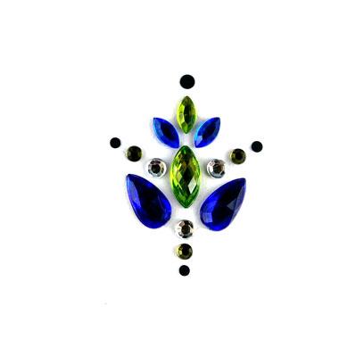 Face Jewels 001 Dark Blue Olive Green