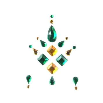 Face Jewels 015 Dark Green Silver