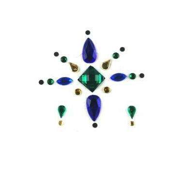 Face Jewels 021 Dark Green Blue Gold
