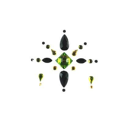 Face Jewels 021 Olive Green Black Gold
