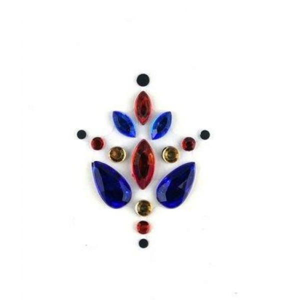Face Jewels 001 Dark Blue Red