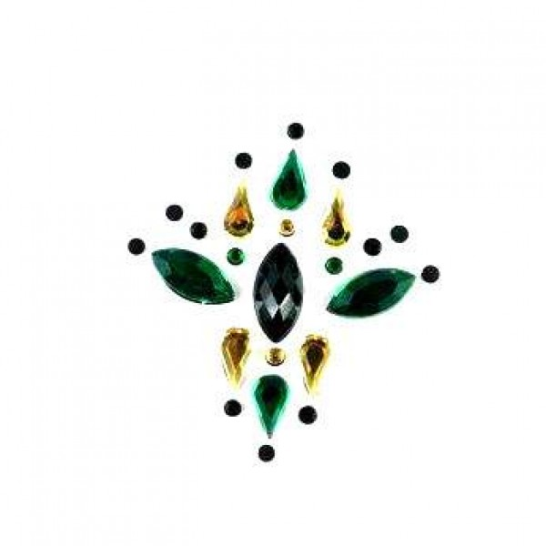 Face Jewels 004 Black Dark Green