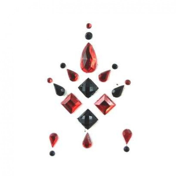 Face Jewels 015 Red Black
