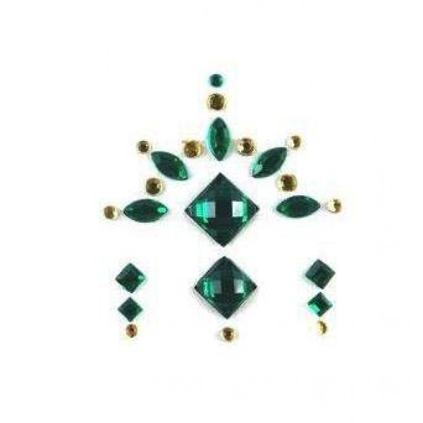 Face Jewels 020 Dark Green Gold