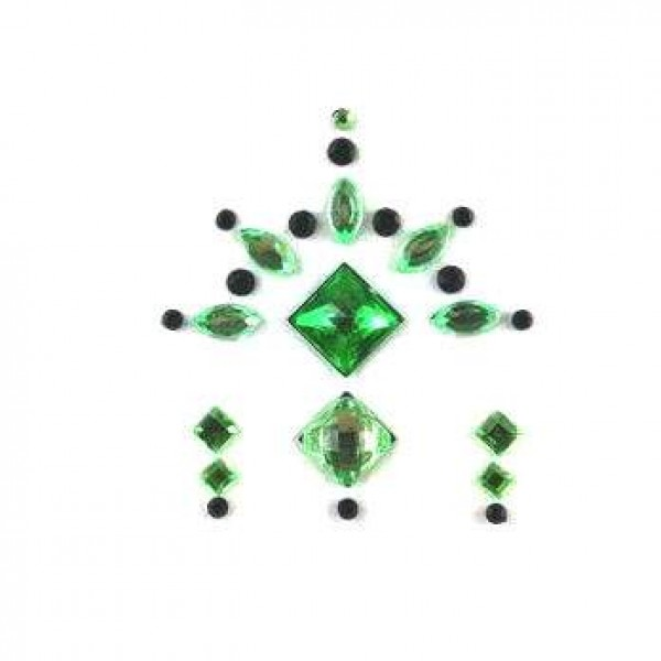 Face Jewels 020 Lime Green Black