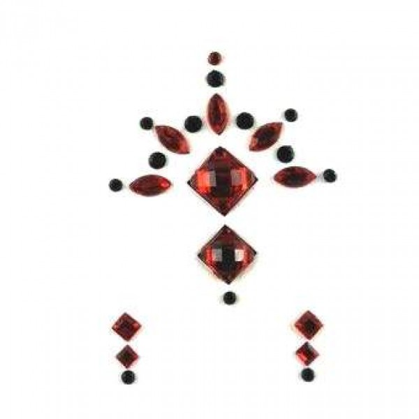 Face Jewels 020 Red Black
